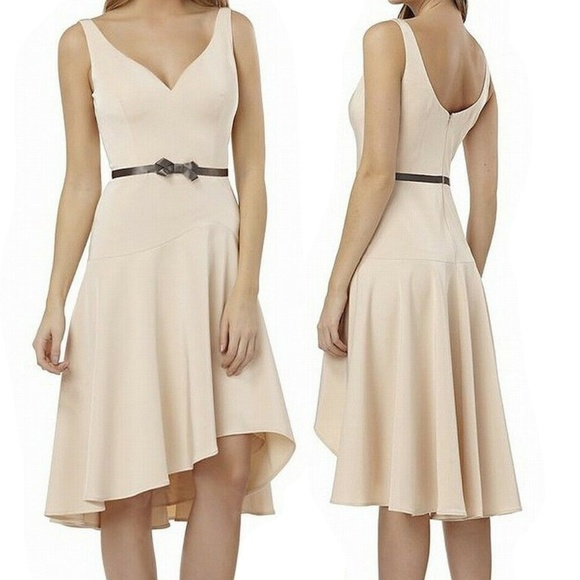 74a64c38e0d Kay Unger Women s High Low Faux Belt Sheath Dress
